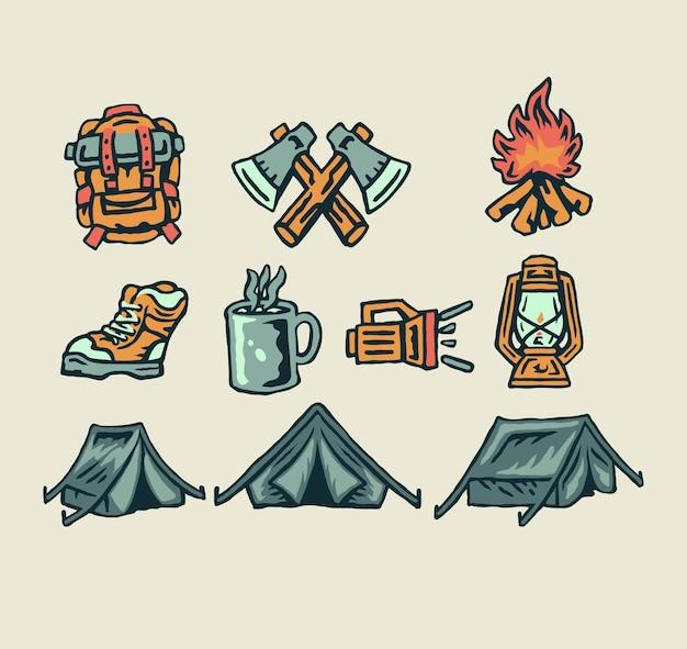 Camping elementen, hand getrokken lijnstijl met digitale kleur