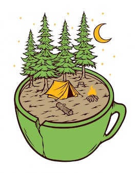 Camping en beker illustratie