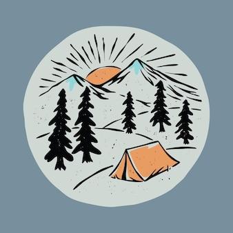 Camping en prachtige zonsopgang grafische illustratie vector kunst t-shirt design