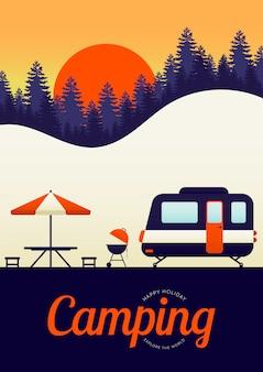 Camping en reizen concept poster achtergrond moderne vintage retro stijl
