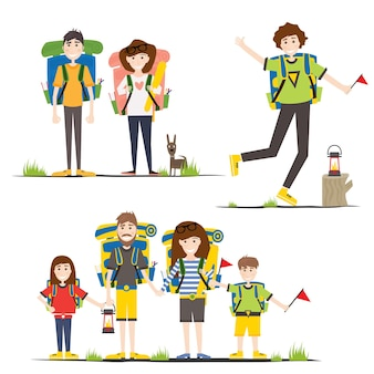 Camping familie. vectorillustratie. mensen met rugzakken geïsoleerd op een witte achtergrond.