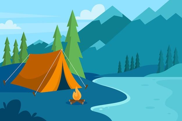 Camping gebied landschap concept