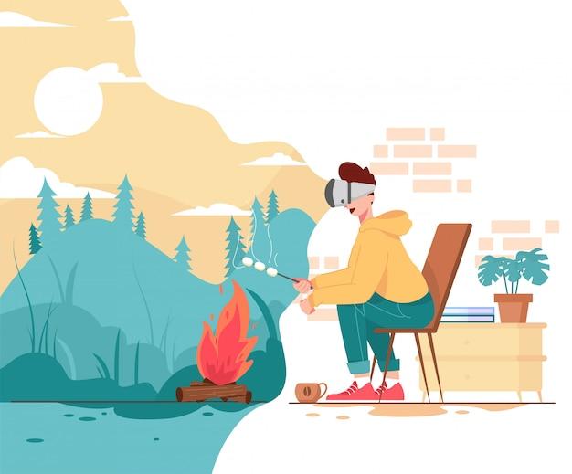 Camping gebruikt virtual reality in huisillustratie