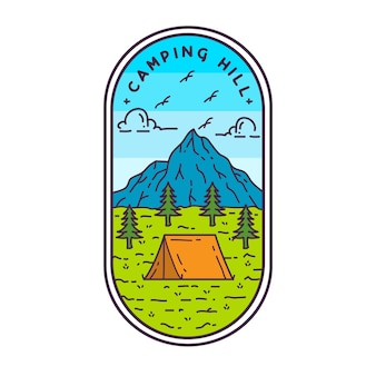 Camping heuvel monoline-badge