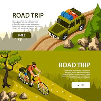 Camping horizontale banners set met man rijden fiets en toeristische auto op weg in bos 3d isometrische geïsoleerde illustratie,