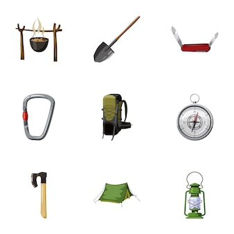 Camping iconen set, cartoon stijl