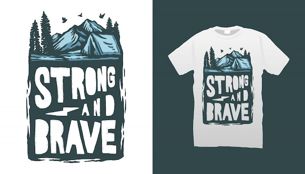Camping illustratie tshirt design