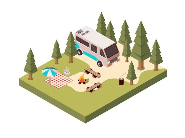 Camping in bos isometrisch ontwerp