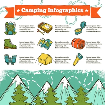 Camping infographics schets