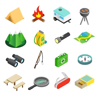 Camping isometrische 3d-pictogrammen instellen