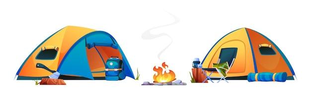 Camping kampvuur tenten vreugdevuur en toeristische reisuitrusting geïsoleerde iconen vector camping met