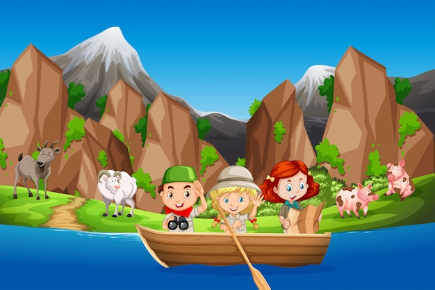 Camping kinderen peddelen houten boot
