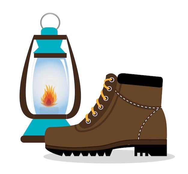 Camping laarzen schoenen met lamp geïsoleerd pictogram ontwerp