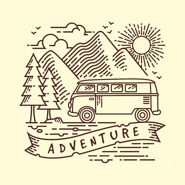 Camping lijn illustratie