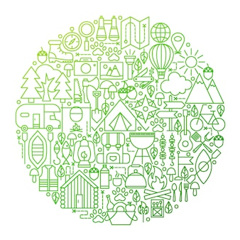 Camping lijn pictogram cirkel ontwerp. vectorillustratie van zomerkamp overzicht objecten.
