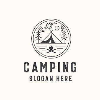 Camping lineart badge sjabloon