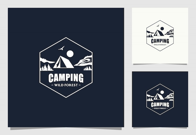 Camping logo-ontwerp in vintage stijl