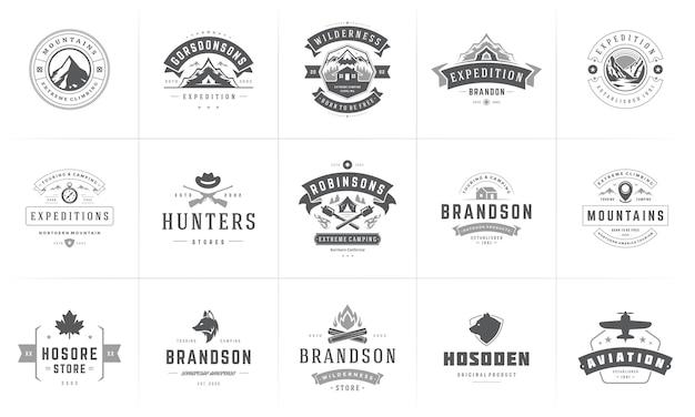 Camping logo's en badges sjablonen set