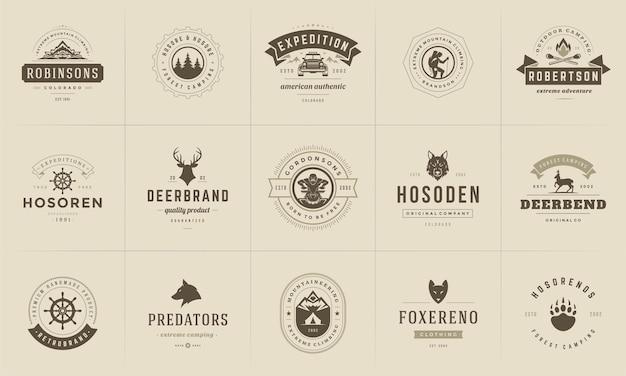 Camping logo's en badges sjabloon ontwerpelementen