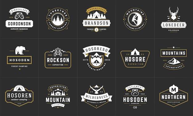 Camping logo's en badges sjabloon ontwerpelementen Premium Vector