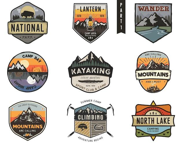 Camping logo set. avontuur sjabloon. vintage badges