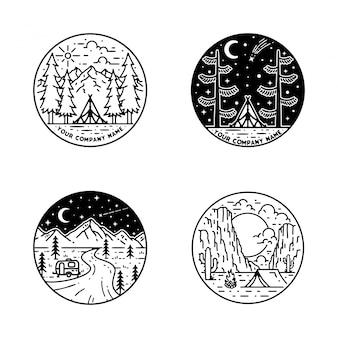 Camping monoline badge ontwerp
