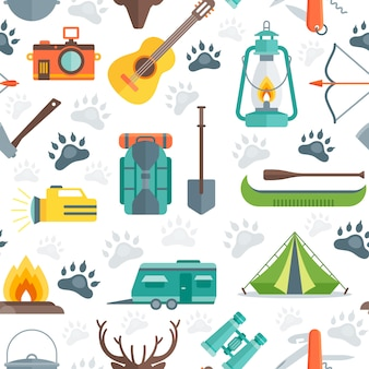 Camping naadloze patroon