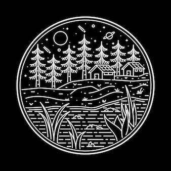 Camping natuur avontuur monoline illustratie