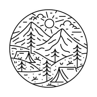 Camping natuur avontuur wilde klif lijn grafische illustratie t-shirt ontwerp