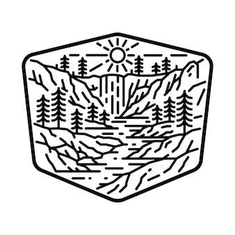 Camping natuur avontuur wilde lijn badge patch pin grafische illustratie