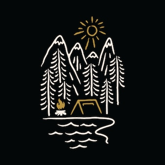 Camping natuur bergmeer illustratie