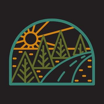 Camping natuur wilde lijn badge patch pin grafische afbeelding