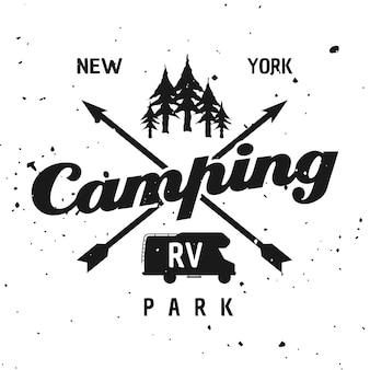 Camping park vector monochroom embleem, label, badge, sticker of logo geïsoleerd op gestructureerde achtergrond