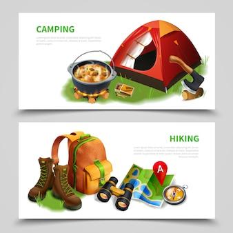 Camping realistische flyer set