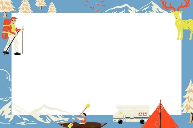 Camping reis blauwe frame vector in rechthoekige vorm met toeristische cartoon afbeelding