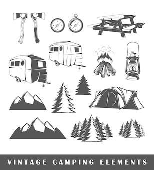 Camping silhouetten instellen