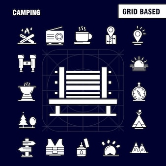 Camping solid glyph-pictogram