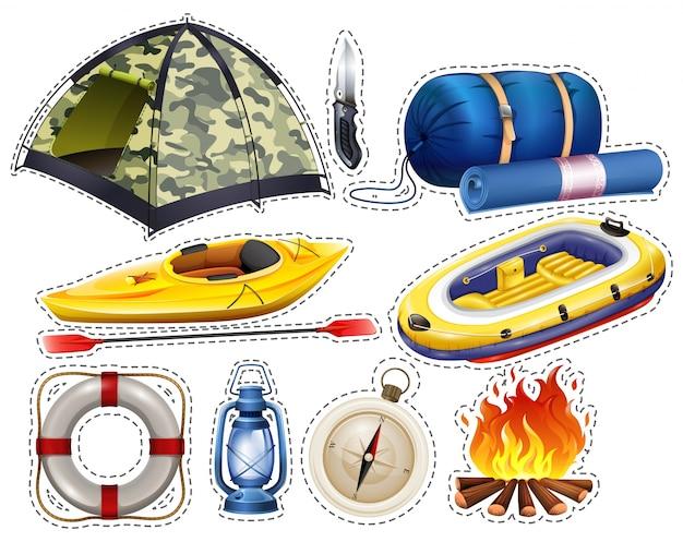 Camping sticker set met tent en slaapzak illustratie