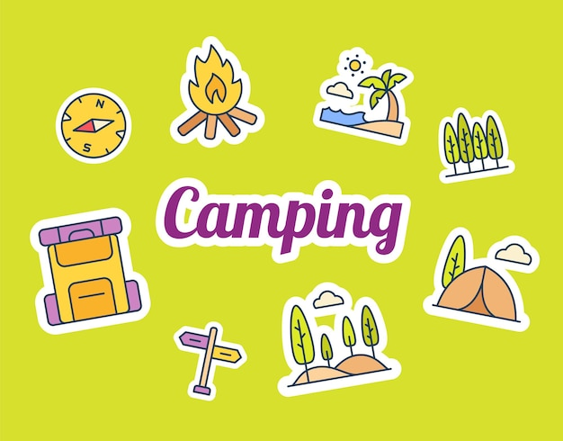 Camping sticker stickers met gevulde kleurstijl
