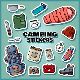 Camping stickers instellen poster