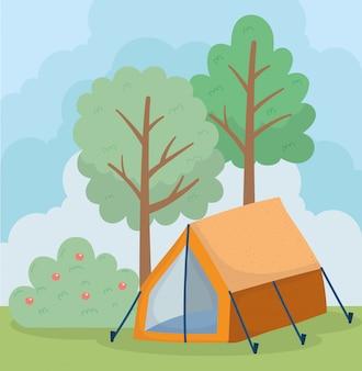 Camping tent bush appels fruit gebladerte bomen natuur cartoon
