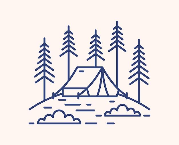 Camping tent in bos overzicht vectorillustratie. blauwe lineaire camping geïsoleerd op een witte achtergrond. bivvy op glade en sparren monocolor lijntekeningen tekenen. buitenrecreatie in dennenbossen.