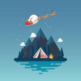 Camping tent met landschap 's nachts