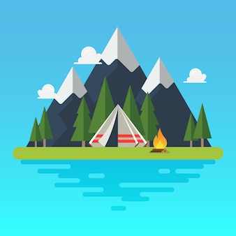 Camping tent met landschap