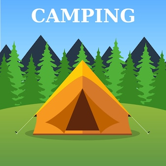 Camping toeristische tent op boslandschap
