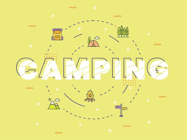 Camping typografie kalligrafie belettering woord