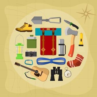 Camping uitrusting elementen en pictogrammen