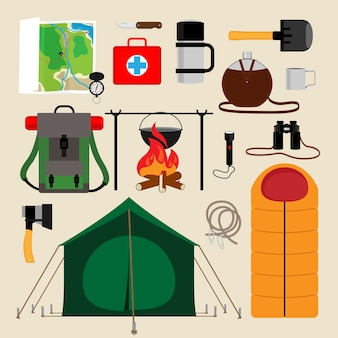 Camping uitrusting pictogrammen. voorzieningen voor toerisme, recreatie, survival in het wild. vector illustratie