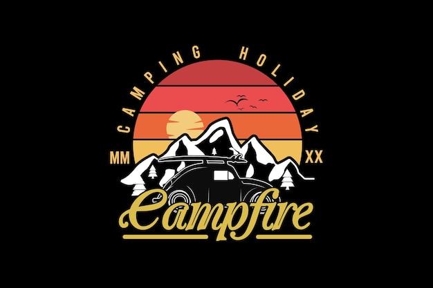 Camping vakantie kampvuur, retro vintage stijl hand tekenen illustratie