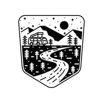 Camping van adventure line grafische illustratie kunst t-shirt